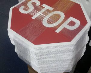 custom corrugated stop signs